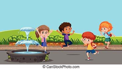 felice, gioco, fontana, bambini, prossimo