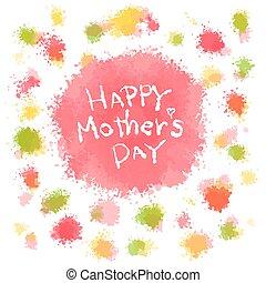 felice, giorno, messaggio, illustrazione, madre, acquarello