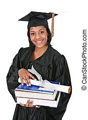 felice, giovane, americano, grad, africano femmina