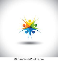 felice, graphic., comunità, affiatamento, bambini, riunioni, -, anche, armonia, eccitato, amicizia, colorito, illustrazione, unità, integrità, rappresenta, bambini, questo, insieme, gioco, fiducia, vettore, o