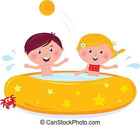 felice, illustrazione, nuoto, estate, sorridente, vector., stagno, cartone animato, bambini