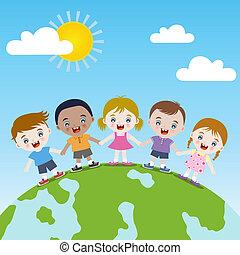 felice, insieme, terra, bambini