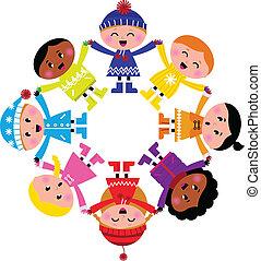 felice, inverno, isolato, cerchio, cartone animato, bambini, bianco