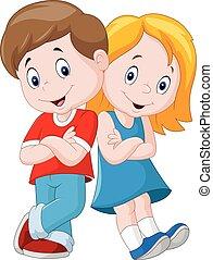 felice, isolato, cartone animato, fondo, bianco, bambini