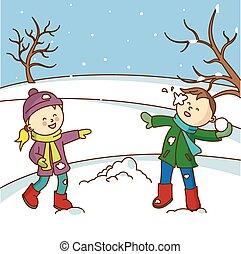 felice, lancio, bambini, gioco, snowbal