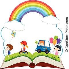 felice, libro, parco, bambini giocando