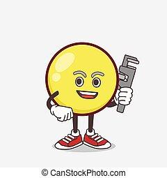 felice, mascotte, emoticon, idraulico, cartone animato, giallo, carattere