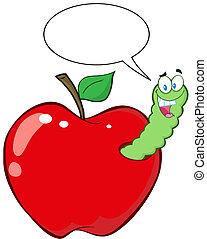 felice, mela, rosso, verme