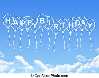 felice, messaggio, compleanno, nuvola, modellato