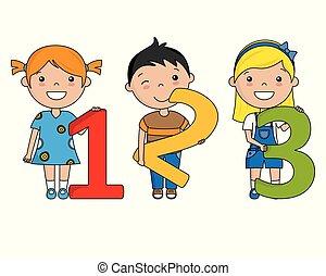 felice, numeri, bambini