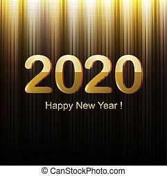 felice, nuovo, nero, anno, scheda, dorato