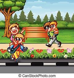 felice, parco, bambini giocando