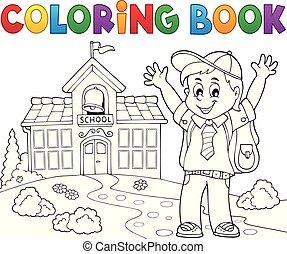 felice, pupilla, tema, 2, ragazzo, libro colorante