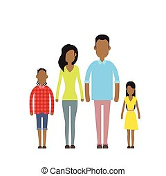 felice, quattro, famiglia, americano, due persone, africano, genitori, bambini