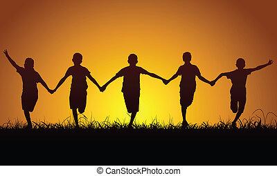 felice, ragazzi, tramonto, correndo