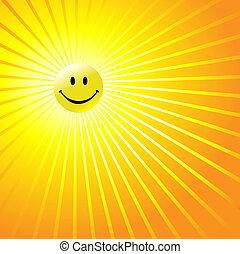 felice, raggiante, smiley fronteggiano