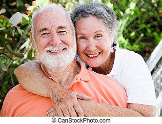 felice, sano, coppia, anziano