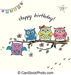 felice, scheda, carino, compleanno, gufi, mano, disegnato