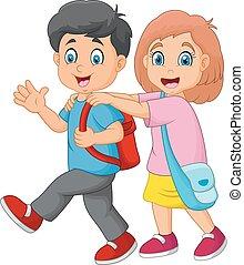 felice, scuola, andare, bambini