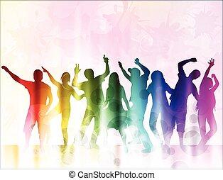 felice, silhouette, ballo, persone