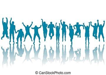 felice, silhouette, saltare, persone