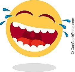 felice, smiley, tears., faccia, vettore, bocca, ridere, risata, emoticon., forte, cartone animato, icona