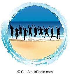 felice, spiaggia, gruppo, saltare, persone