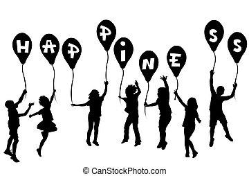 felicità, silhouette, palloni, bambini, presa a terra