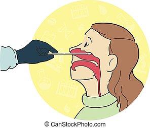 femmina, anatomia, nasale, tampone, croce, paziente, dentro, prova, lavoratore, processo, lato, sezione, sanità, vista, naso