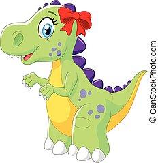 femmina, cartone animato, dinosauro, isolato