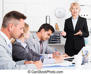 femmina, managers, riunione, assemblea, capo