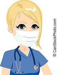 femmina, medico, infermiera, maschera