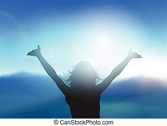 femmina, paesaggio, braccia, contro, silhouette, elevato, montagna
