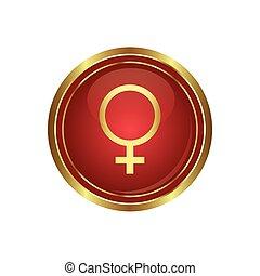 femmina, rotondo, simbolo, bottone