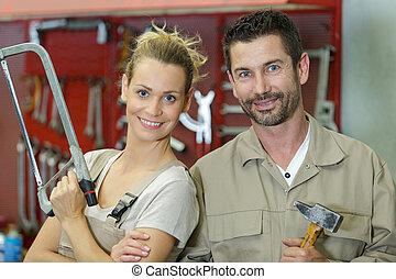 femmina, taglio, officina, carpentiere, asse, maschio