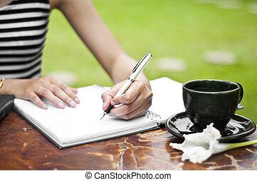 femmina, writing., mano