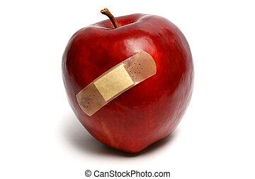 ferito, mela, rosso