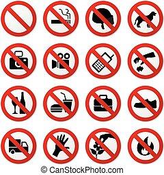 fermata, no, proibito, segno