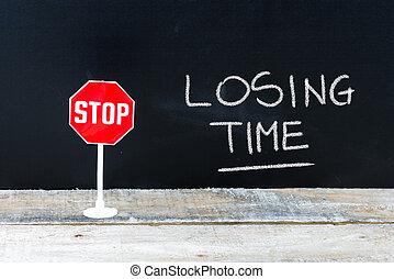 fermata, scritto, lavagna, tempo, perdere, messaggio