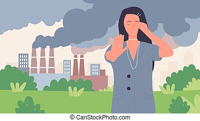 fermata, volontario, polvere, smog, ecologia, donna, fumo, esposizione, inquinamento, gesto, risparmiare, aria