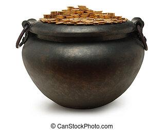 ferro, bollitore, pieno, oro