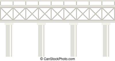 ferrovia, stile, ponte, icona, appartamento