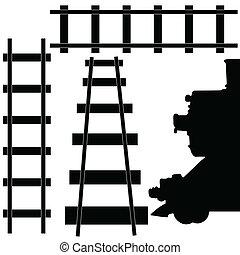 ferrovia, treno, illustrazione