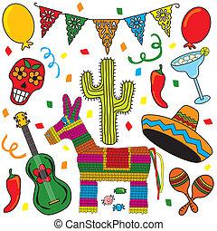 festa, arte, fiesta, clip, messicano