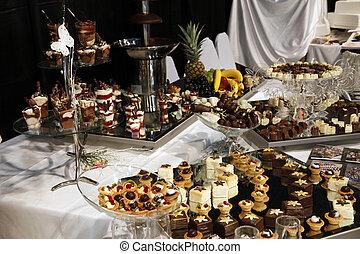 festa, colorito, dessert, pasta, matrimonio, servito