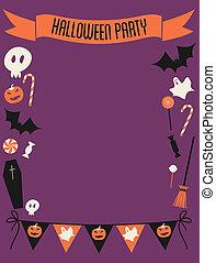 festa, cornice, halloween