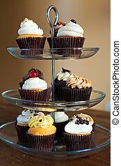 festa, cupcakes, vassoio
