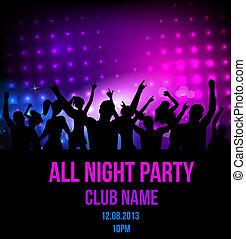 festa, discoteca, fondo, manifesto
