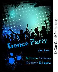 festa, discoteca, grunge, fondo, manifesto