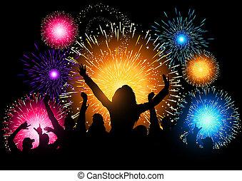 festa, fireworks, notte